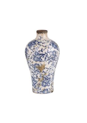 creative brands Large Vintage-Inspired Blue Vase