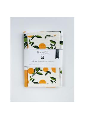 Ten & Co. Swedish Sponge &. Towel Gift Set in Citrus Orange