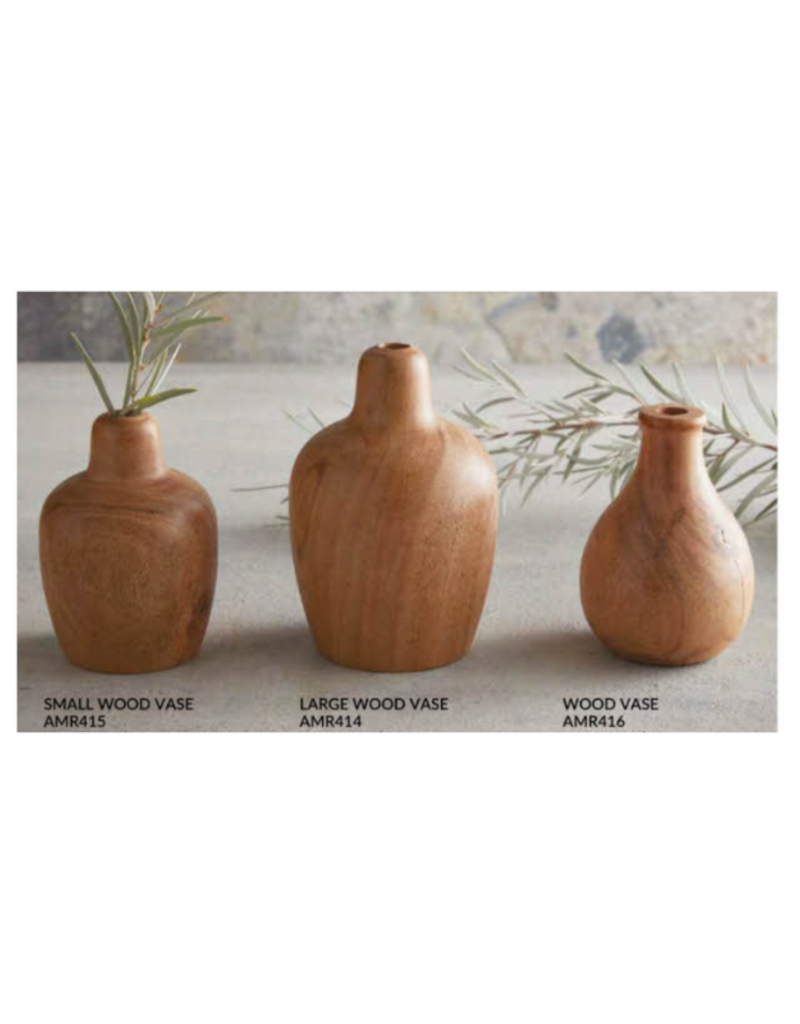 creative brands Wood Vase with Lipped Opening