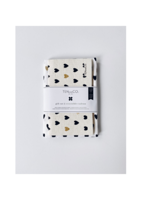 Ten & Co. Swedish Sponge &. Towel Gift Set Tiny Hearts