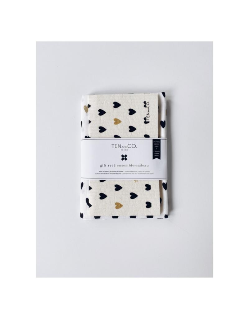 Ten & Co. Swedish Sponge & Towel Gift Set Tiny Hearts