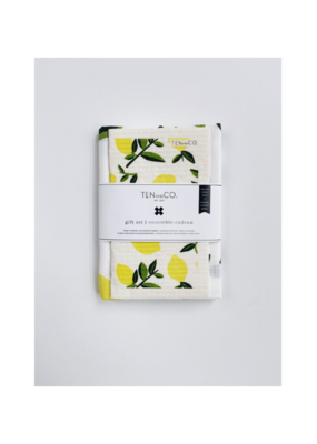 Ten & Co. Swedish Sponge & Towel Gift Set Citrus Lemon