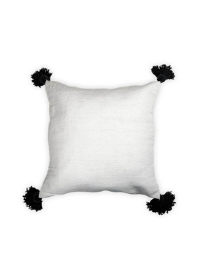 Moroccan Pom Pom Pillow Black Pom