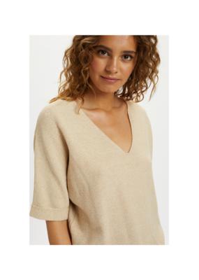 Sillar Shortsleeve Knit Sweater in Sesame Melange by Cream