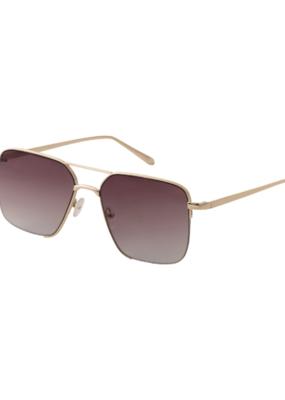 PILGRIM Sage Gold-Plated Sunglasses in Grey by Pilgrim