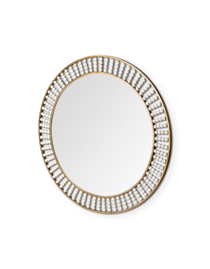 mercana Claiborne Round Gold Mirror with Wood Beads