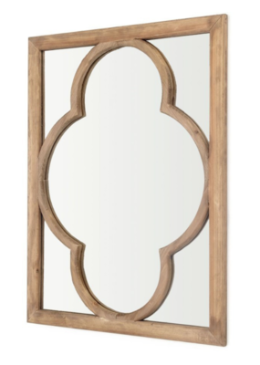 Quatrefoil Pattern Wooden Mirror