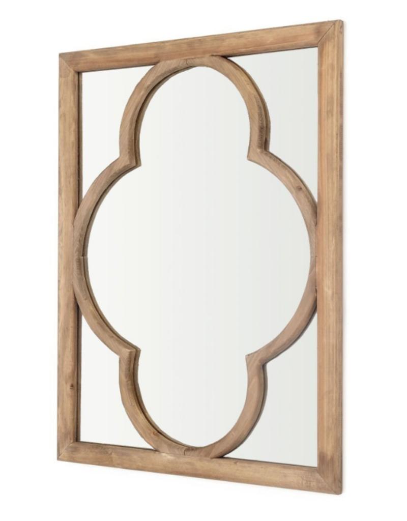 Quatrefoil Pattern Wooden Mirror