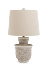 Hammered Resin Table Lamp with Linen Shade