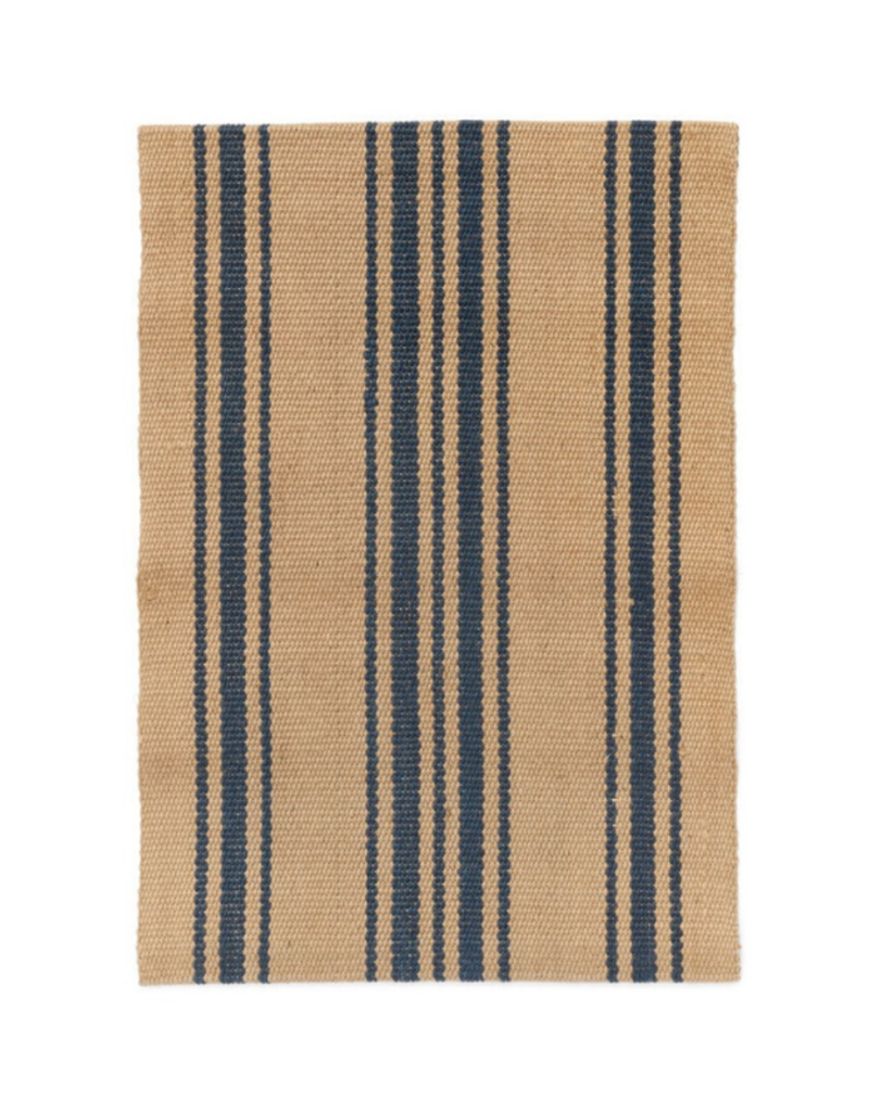 Woven Jute Rug Natural & Blue Stripe 2x3