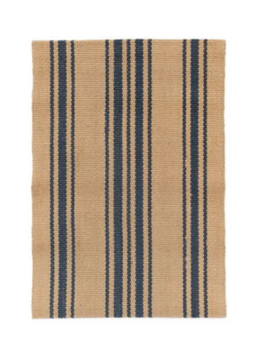 Woven Jute Rug Natural & Blue Stripe 2x7