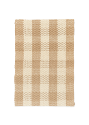 Woven Jute Runner Natural & White Check 2x7