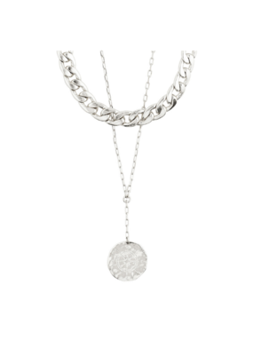 PILGRIM Compass 2-in1 Necklace Silver-Plated by Pilgrim