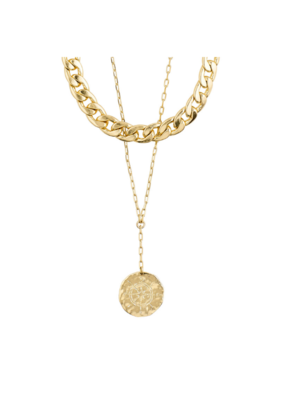 PILGRIM Compass 2-in1 Necklace Gold-Plated by Pilgrim
