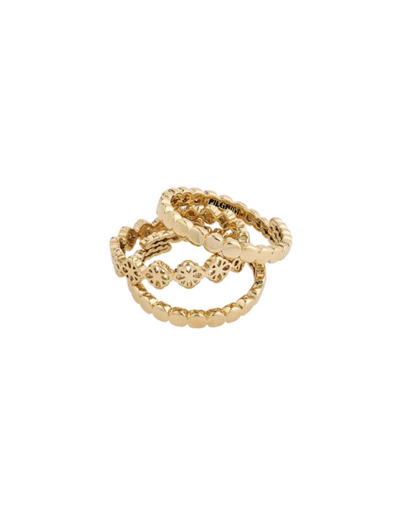 PILGRIM Cherished 3-Ring Set Gold-Plated by Pilgrim