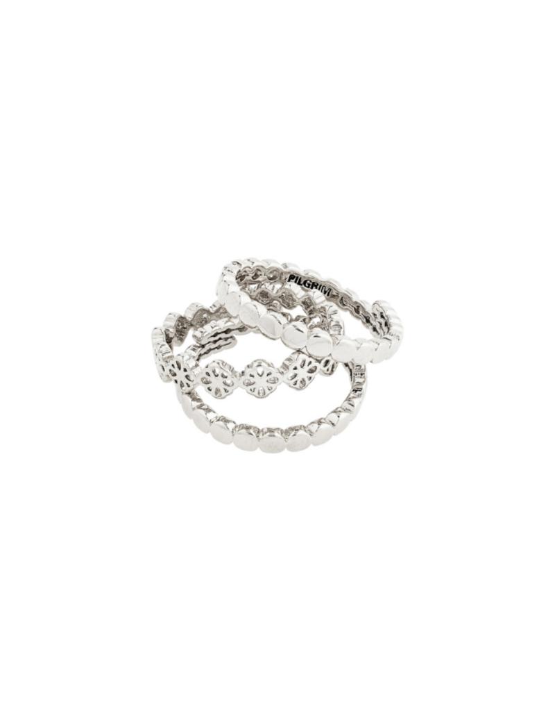 PILGRIM Cherished 3-Ring Set Silver-Plated by Pilgrim