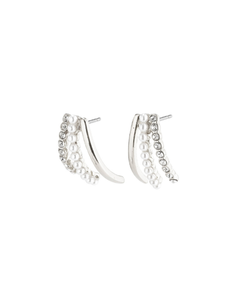 PILGRIM Cherished 3-Prong Earrings Silver-Plated Crystal by Pilgrim