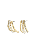 PILGRIM Cherished 3-Prong Earrings Gold-Plated Crystal by Pilgrim