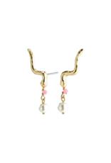 PILGRIM Poesy Climber Earrings Gold-Plated Rose by Pilgrim