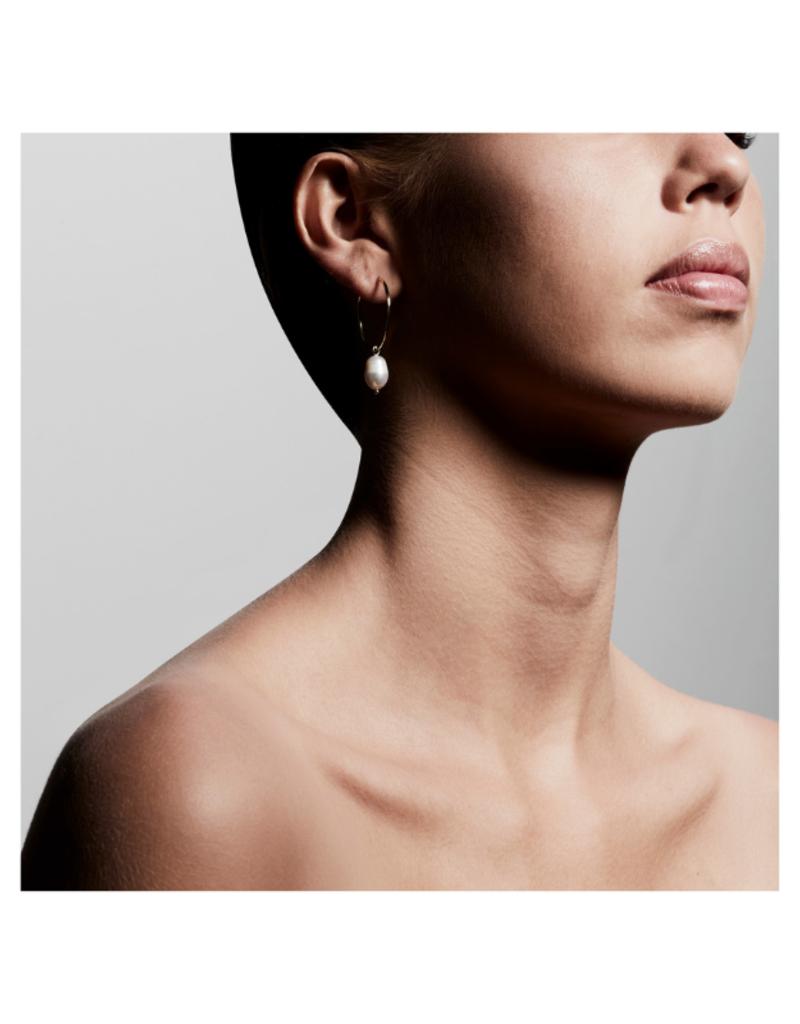 PILGRIM Poesy Hoop Earrings Gold-Plated White Pearl by Pilgrim