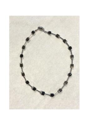 Merx Necklace Lobster Black Crystal