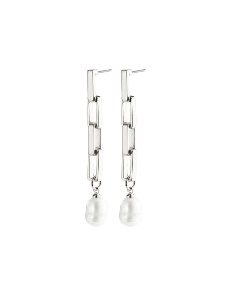 PILGRIM Columba Earrings Silver-Plated Freshwater Pearl by Pilgrim