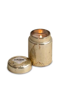 himalayan trading post Sugared  Lemon Platinum Mountain Fire Glass Candle by Himalayan Handmade Candle
