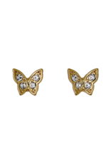 PILGRIM Butterfly Stud Earrings Gold-Plated Crystal by Pilgrim
