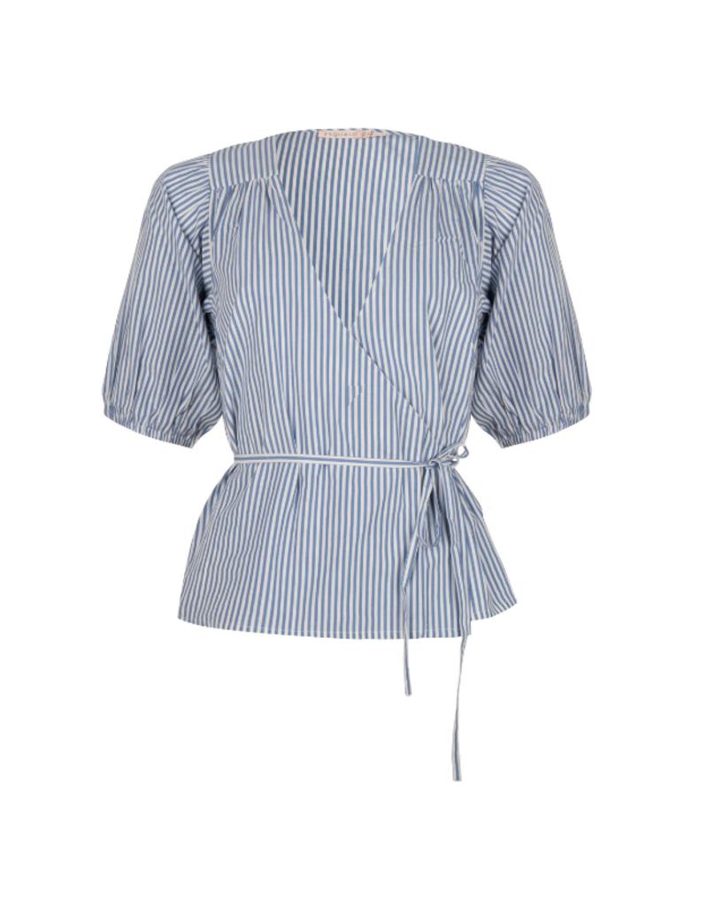 Overlap Blouse in Blue & White Stripe by EsQualo