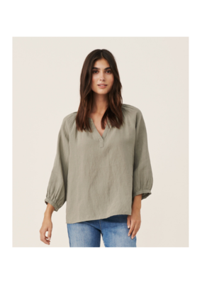 Part Two Hikma Linen Blouse in Vetiver by Part Two