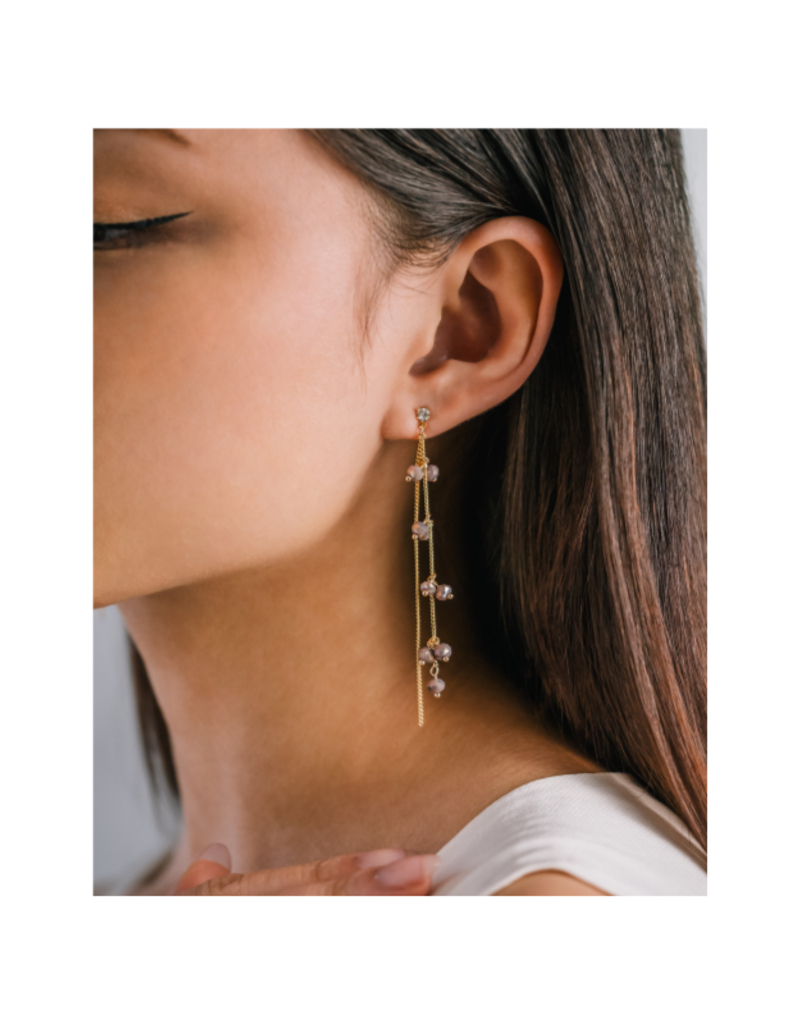 Lover's Tempo Dot Crystal Earrings in Plum by Lover's Tempo
