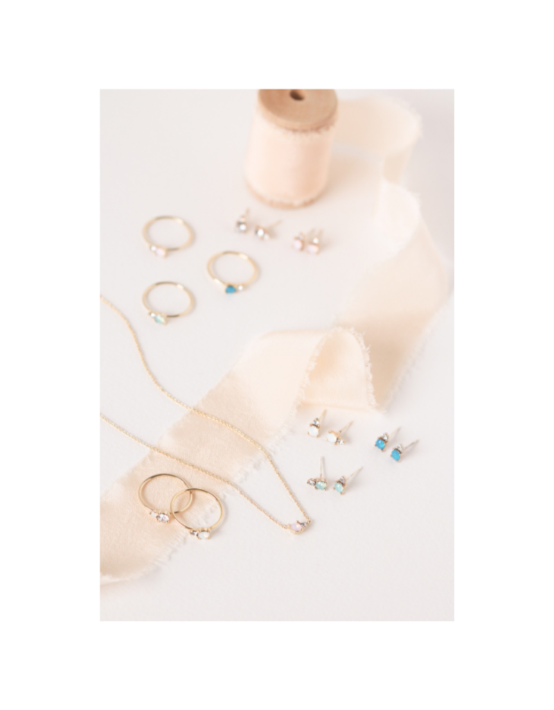 Lover's Tempo Dolce Earring Studs in White Opal by Lover's Tempo