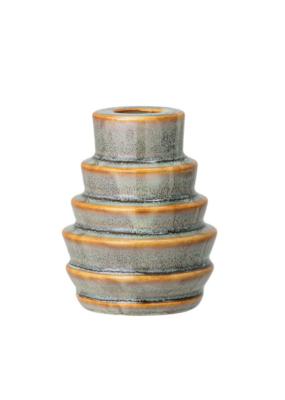 """Bloomingville Round Stoneware Taper Holder Blue & Brown Glaze 3.5""""H"""