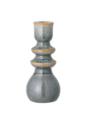 "Bloomingville Round Stoneware Taper Holder Blue & Brown 7.5""H"