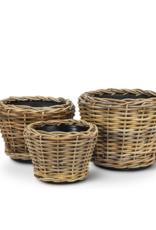Wicker Resin Round Planter Small