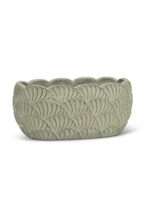 Oval Scallop Green Planter Large