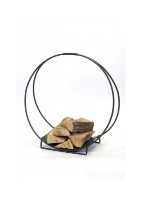 Round Black Metal Log Holder Large