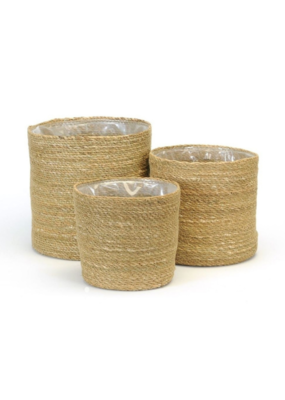 Round Natural Lined Woven Planter