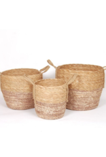 Two Tone Natural Straw Basket
