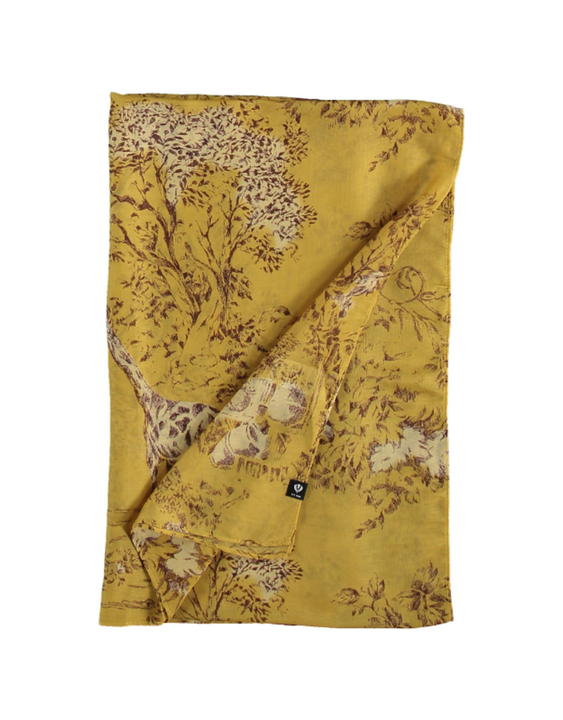 Fraas Border Giraffe Scarf Curry
