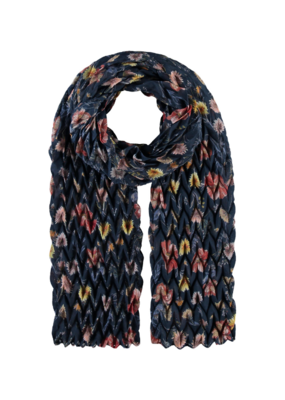 Fraas Think! Floral Plisse Scarf Navy