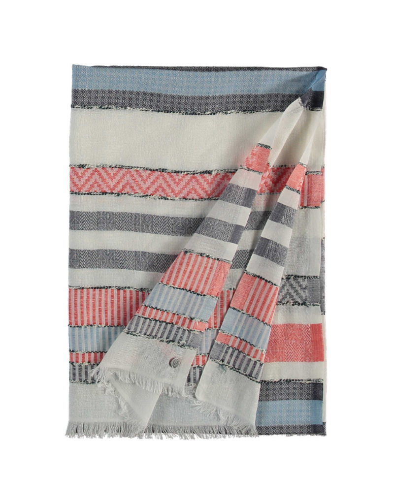 Fraas Think! Textured Stripe Scarf Red