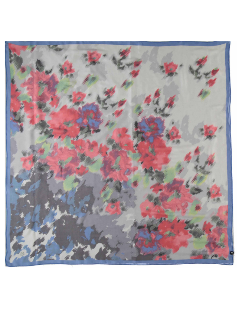 Fraas Floral Mirage Silk Scarf Blue
