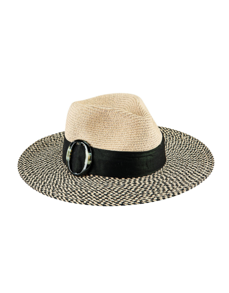 Fedora Hat with Tortoise Slider in Black  by San Diego Hat Company