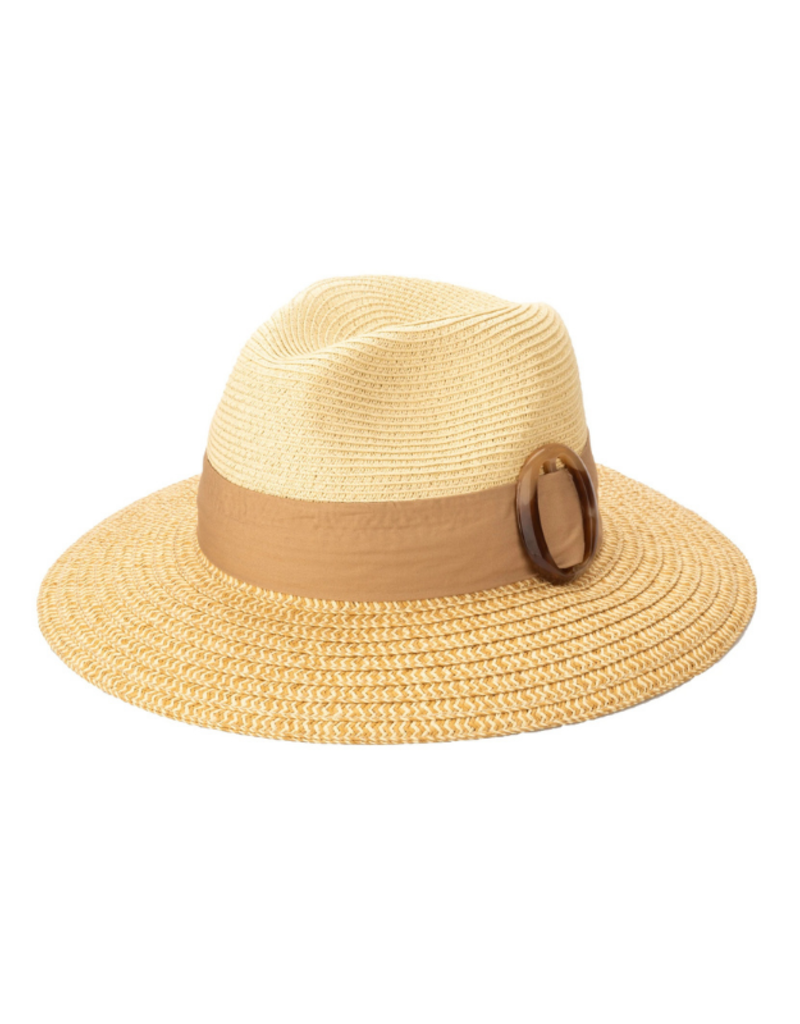 Fedora with Tortoise Slider in Natural  by San Diego Hat Company
