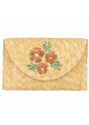 San Diego Hats Clutch Purse with Floral Embroidery in Natural by San Diego Hat Company