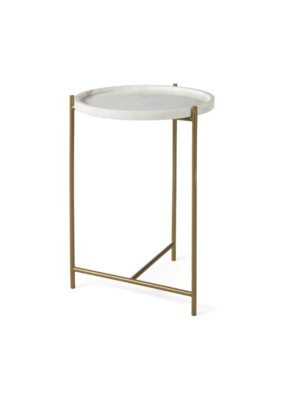 mercana Stella Round Side Table with Marble Top