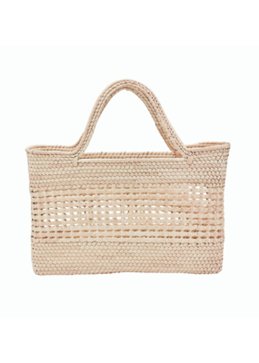 Crochet Palm Straw Tote in Natural  by San Diego Hat Company