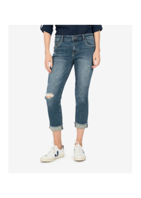 Kut from the Kloth Amy Crop Roll-Up with Fray Hem in Bubbly Wash by Kut from the Kloth