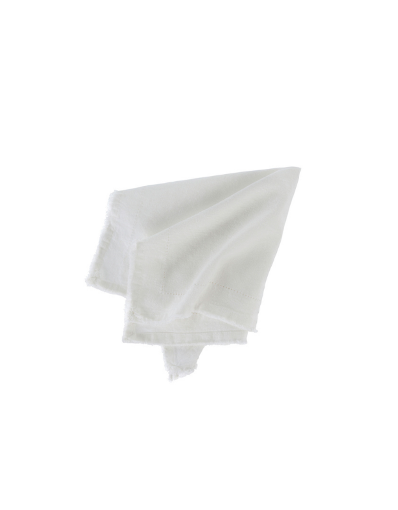 Set of 6 Frayed Edge Cloth Napkin Ivory